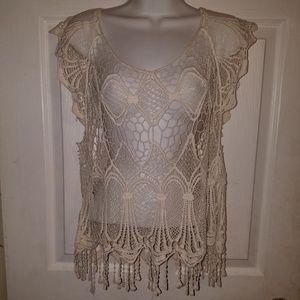 Nella Fatasia Open Crochet Pullover Cover-Up Top